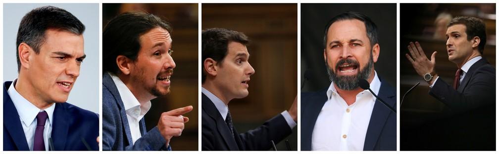 Da esquerda para direita: o primeiro-ministro Pedro Sanchez (PSOE); Pablo Iglesias (Podemos); Albert Rivera (Cidadãos); Santiago Abascal (Vox); e Pablo Casado (Popular). — Foto: Fotos: Reuters