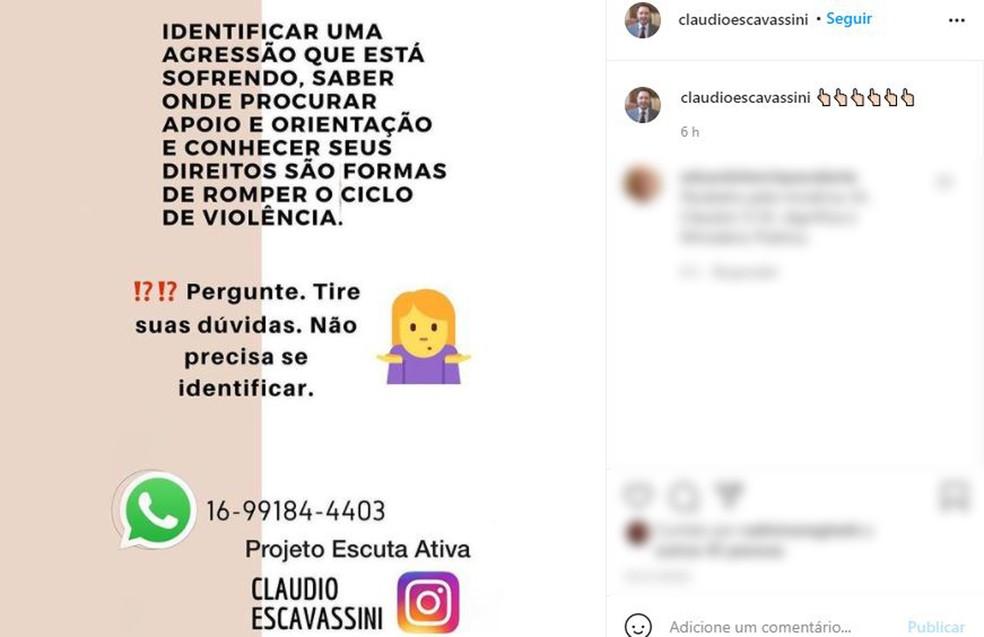 Projeto Escuta Ativa quer ajudar mulheres vítimas de violência doméstica em Franca, SP  — Foto: Reprodução/Instagram