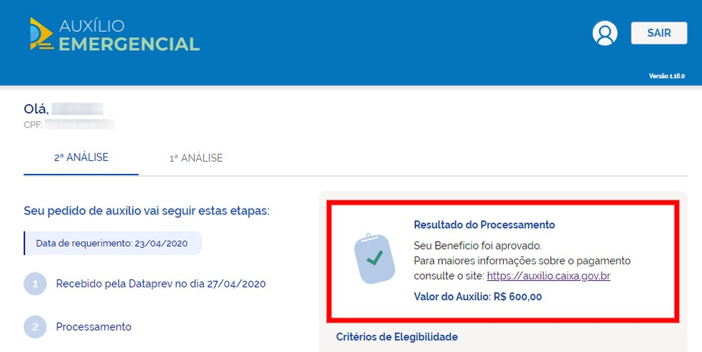 Site também mostra quando o CPF foi utilizado para solicitar o benefício do Auxílio Emergencial — Foto: Reprodução/Rodrigo Fernandes