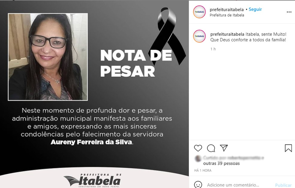A prefeitura de Itabela lamentou a morte de Aureny Ferreira da Silva, que tinha 46 anos — Foto: Reprodução/Prefeitura de Itabela
