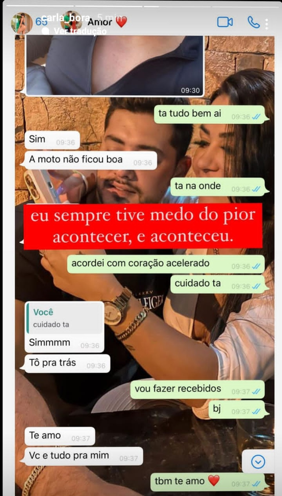 Últimas mensagens trocadas entre Rogerinho e Carla Bora — Foto: Instagram/Reprodução