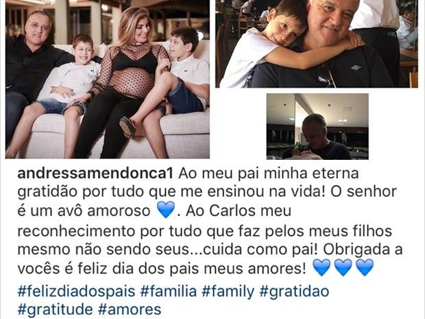 Andressa Mendonça agradece Cachoeira pelo cuidado com os filhos no Dia dos Pais Goiânia Goiás (Foto: Reprodução/Instagram)