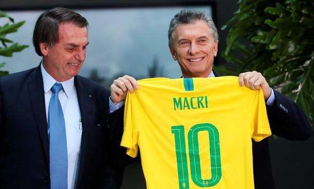 Bolsonaro e Macri, que é candidato à reeleição