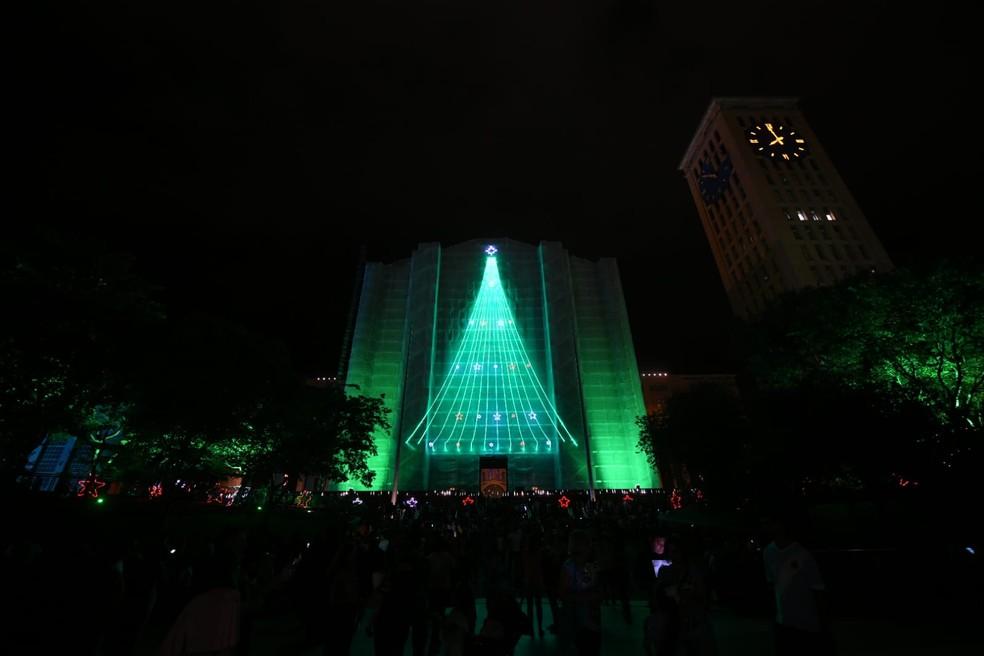 Projeções duram cerca de 7 minutos — Foto: Thiago Leon/Santuário Nacional