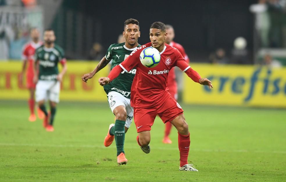 Guerrero só foi substituído nos acréscimos do jogo contra o Palmeiras — Foto: Ricardo Duarte/Internacional