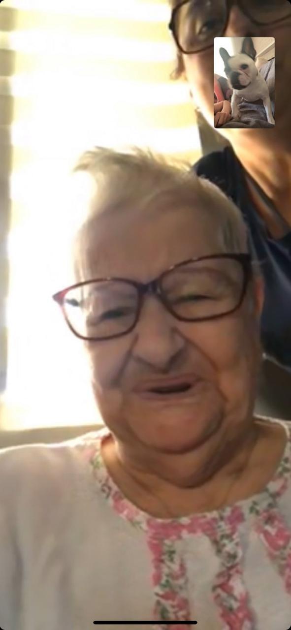 Com saudade, avó faz chamada de vídeo para ver cachorrinha que está com a neta durante isolamento no RS