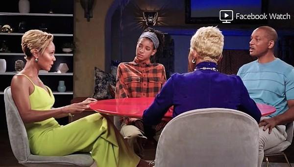 O ator Will Smith e sua esposa, a atriz Jada Pinkett Smith, na conversa com a filha dos dois e a sogra do astro (Foto: Facebook)