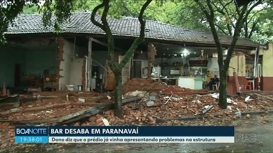 Bar e parte de borracharia desabam durante chuva em Paranavaí