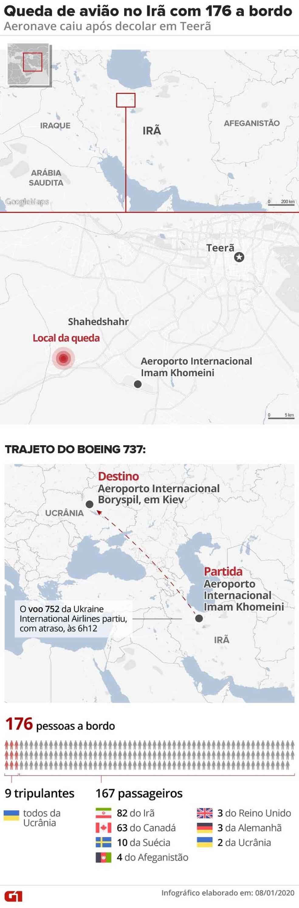 Mapa queda avião Irã — Foto: Rodrigo Sanches/G1