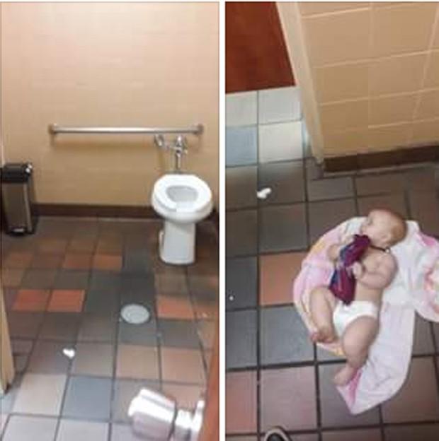 A foto postado no Facebook do bebê sendo trocado no chão do banheiro (Foto: Reprodução Facebook)