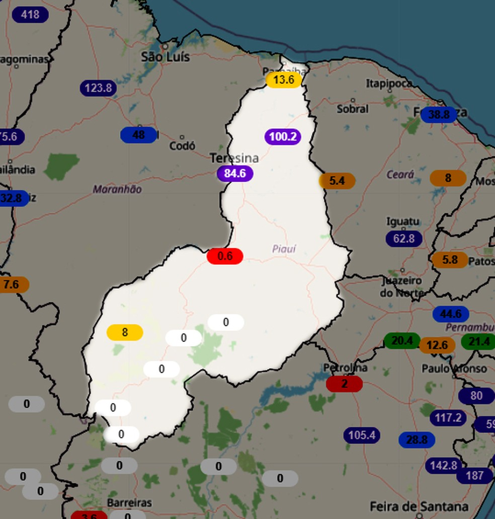 Registros de chuvas nos últimos 90 dias no Piauí — Foto: Inmet
