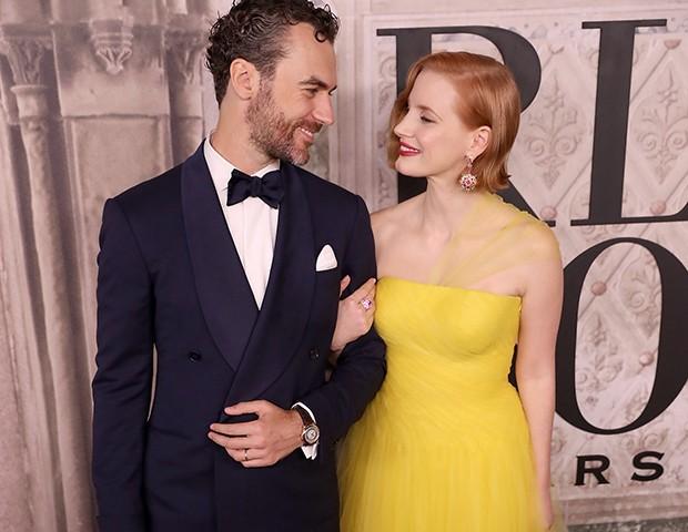 Jessica Chastain e o marido Gian Luca Passi de Preposulo (Foto: Getty Images)