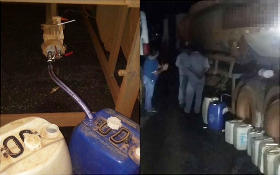 Polícia diz que dupla usava 'chupa-cabra' paar retirar combustíveis de caminhões e colocar em tambores (Foto: Divulgação/Polícia Civil)