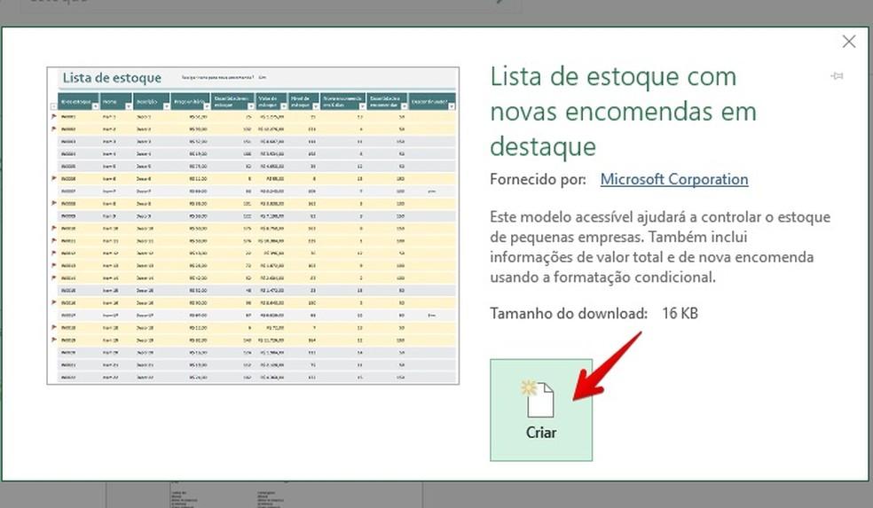 O Excel exibe informações e detalhes sobre o modelo de planilha de controle de estoque (Foto: Reprodução/Helito Bijora)