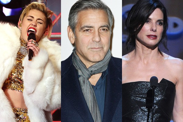 Miley Cyrus, George Clooney e Sandra Bullock (Foto: Getty Images)