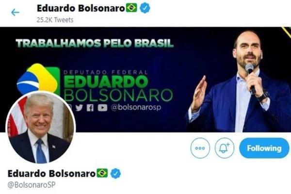 Eduardo Bolsonaro muda foto do Twitter em apoio a Trump
