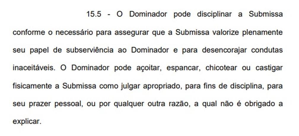 Cláusula diz que dominador pode açoitar e espancar a submissa — Foto: Reprodução