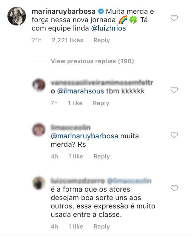 "Marina Ruy Barbosa deseja ""muita merda"" para Grazi Massafera e fãs criticam"