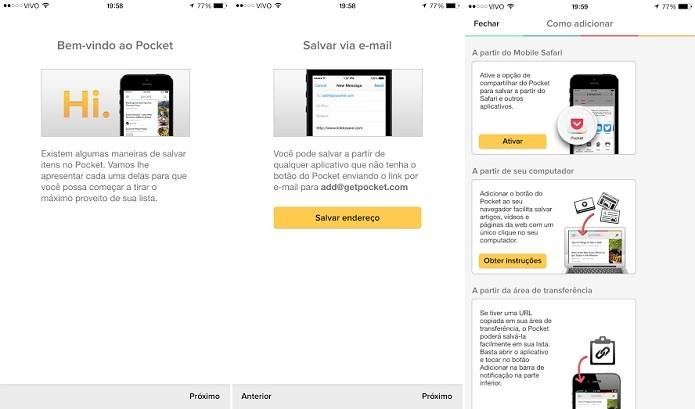 App mostra um rápido tutorial no começo (Foto: Reprodução/Thiago Barros)