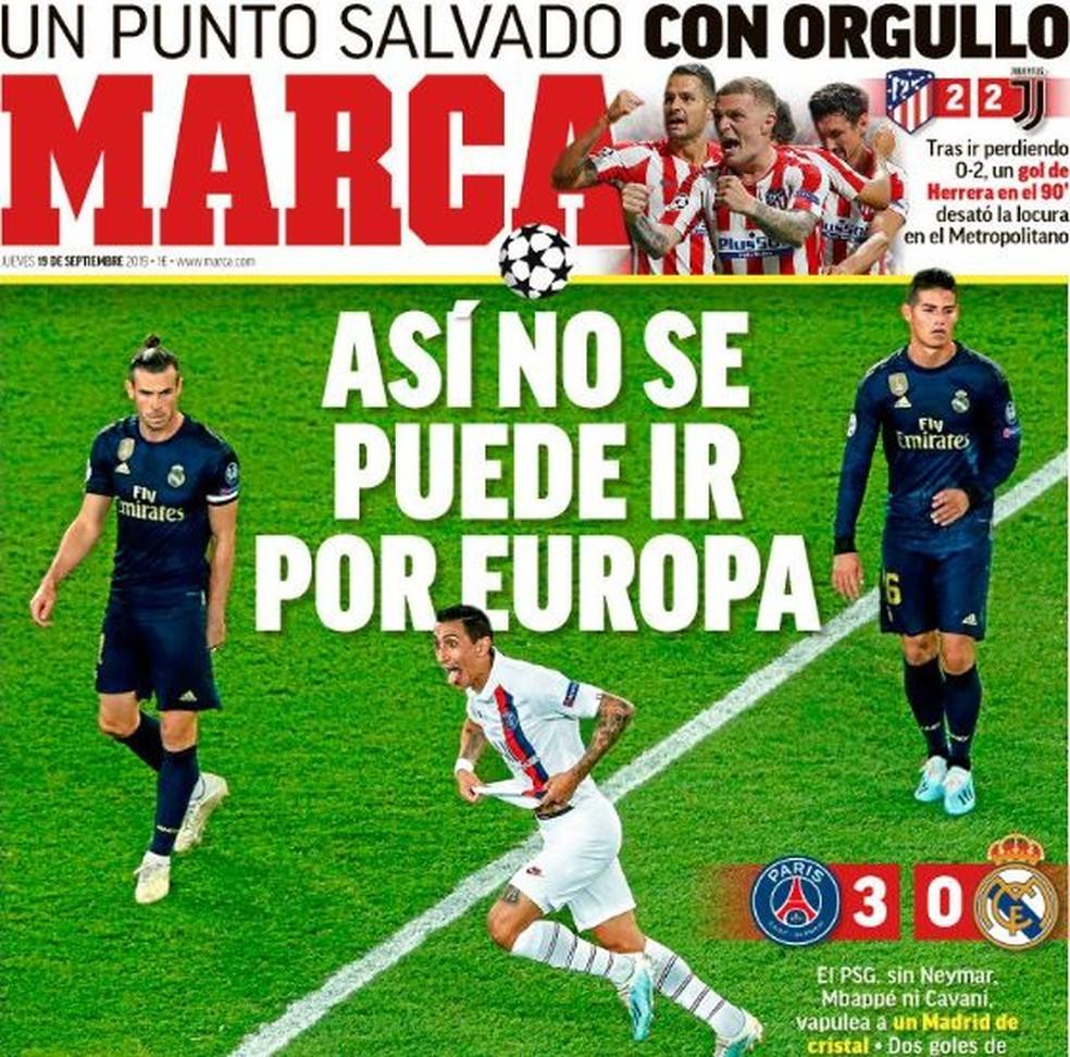 """Capa do jornal """"Marca"""" desta quinta-feira — Foto: Reprodução de Twitter"""