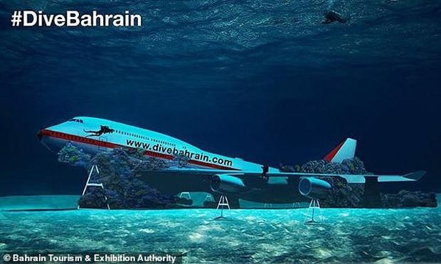 Uma aeronave submersa será a atração principal de parque subaquático no Bahrein (Foto: Divulgação/Autoridade de Turismo e Exposições do Bahrein)
