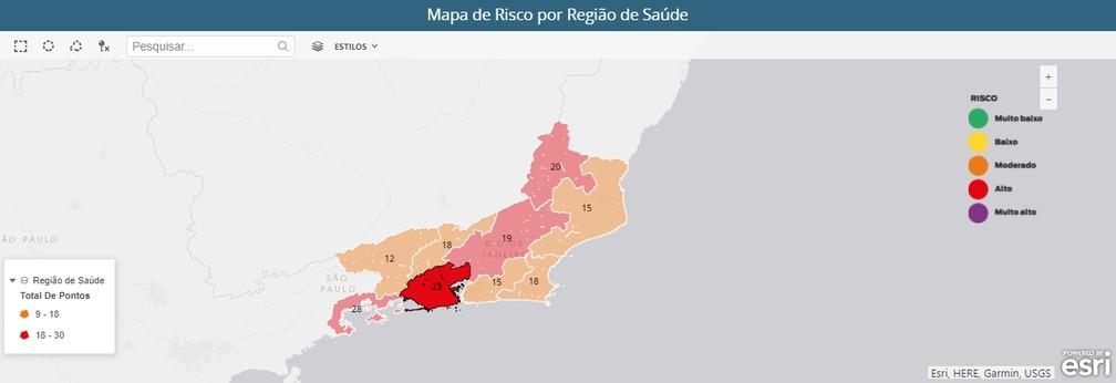 Mapa de Risco por Região de Saúde, segundo a Secretaria Estadual de Saúde do Rio de Janeiro — Foto: Reprodução