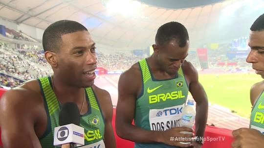 Atletas dos 4x100m masculino comemoram vaga na final do Mundial