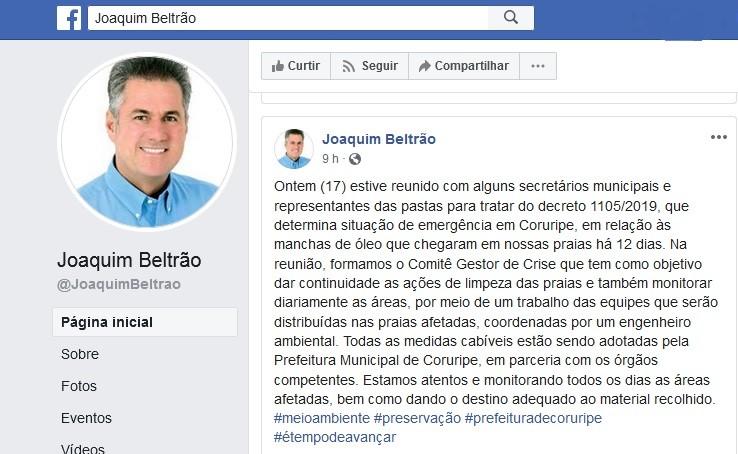 Prefeitura de Coruripe decreta situação de emergência por conta das manchas de óleo nas praias - Notícias - Plantão Diário