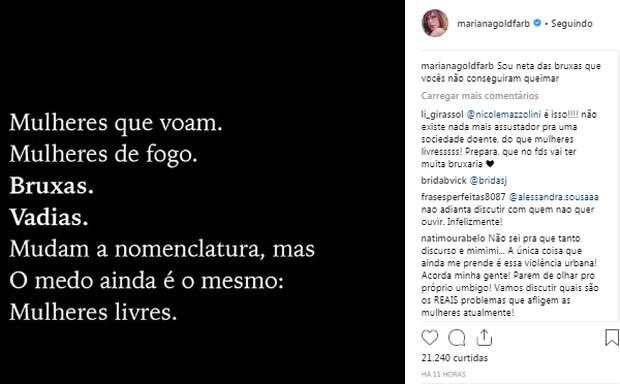 Publicação de Mariana Goldfarb (Foto: Reprodução/Instagram)