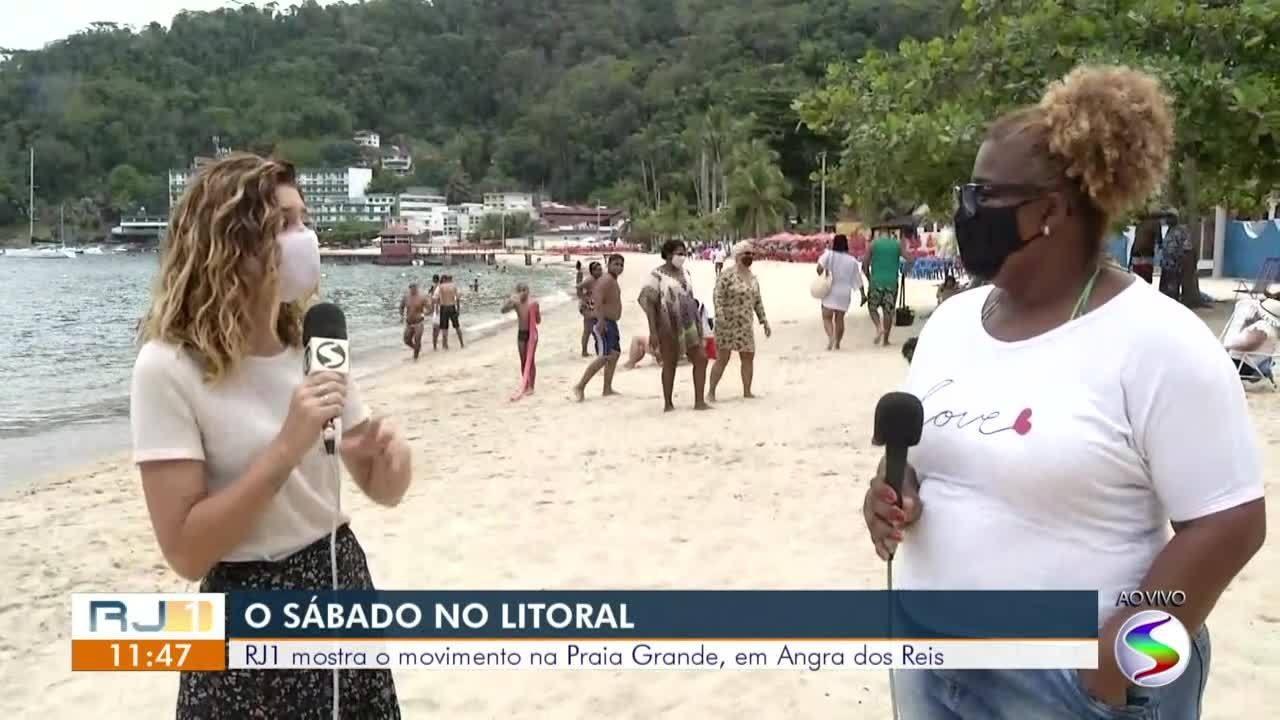 RJ1 mostra o movimento de banhistas na Praia Grande, em Angra dos Reis