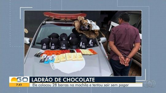 Homem é preso suspeito de tentar furtar barras de chocolate em mercado de Anápolis