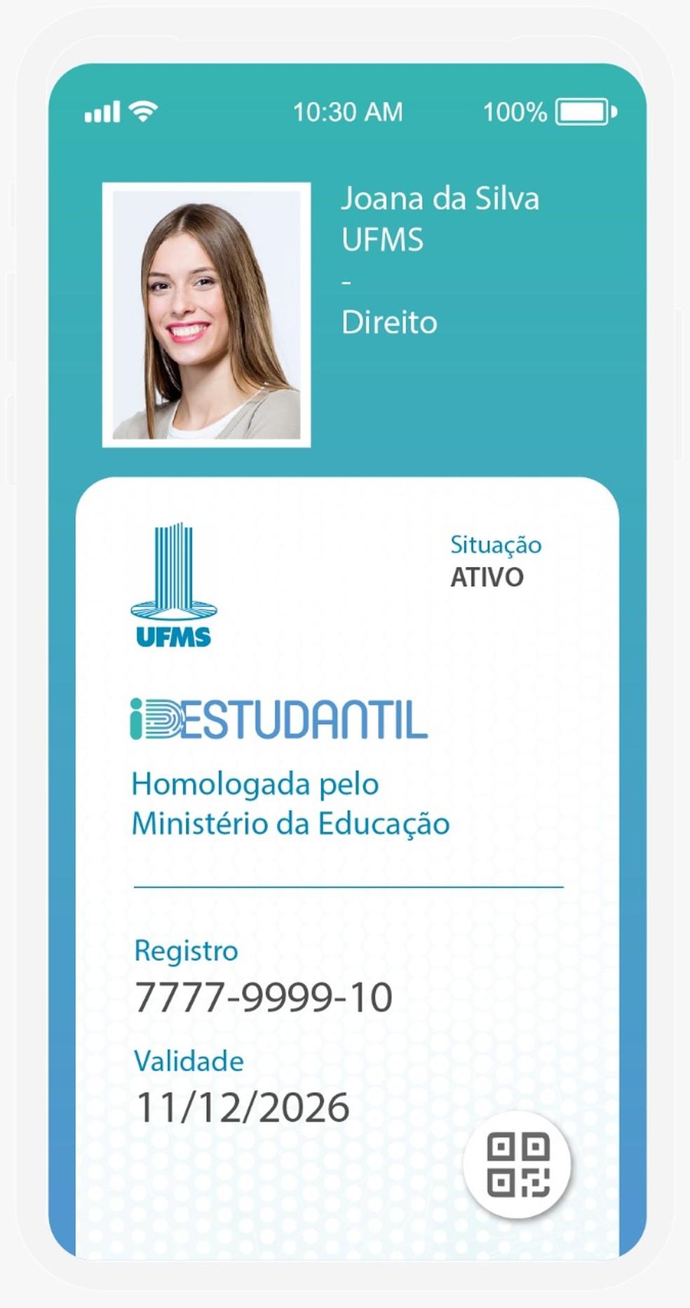 Simulação do ID Estudantil — Foto: Divulgação/MEC
