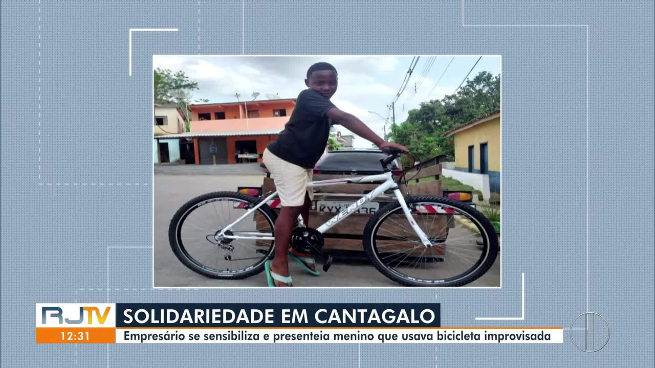 Empresário se sensibiliza e presenteia menino que usava bicicleta improvisada em Cantagalo