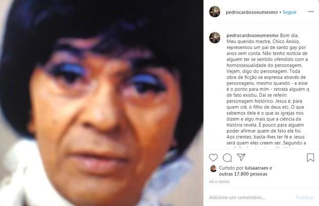 Pedro Cardoso lembrou personagem gay de Chico Anysio, que era Pai de Santo (Foto: Reprodução/Instagram)