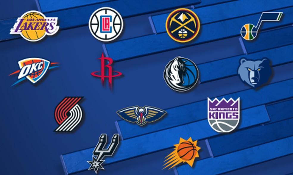 Times da Conferência Oeste que estarão na retomada da NBA — Foto: Divulgação NBA