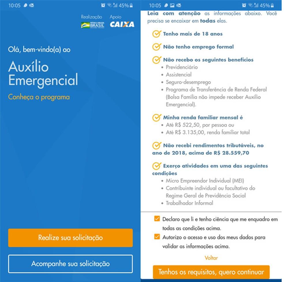 O primeiro acesso ao app lista os critérios necessários para prosseguir com a solicitação do auxílio emergencial — Foto: Reprodução/TechTudo