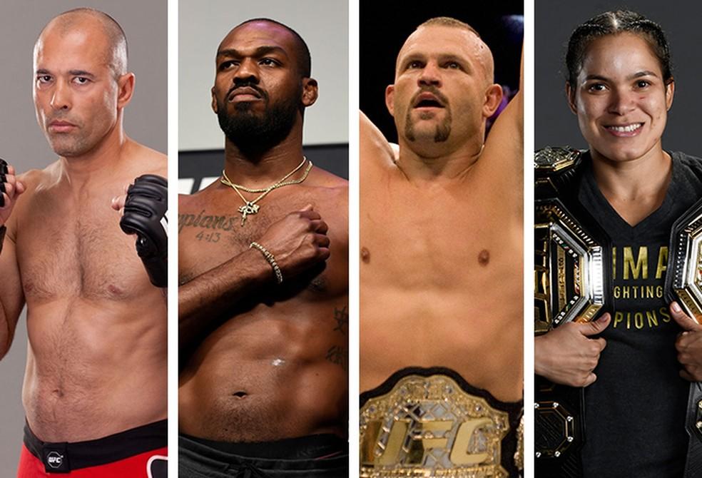 Royce Gracie, Jon Jones, Chuck Liddell e Amanda Nunes são os imortais do UFC para Dana White — Foto: Infoesporte