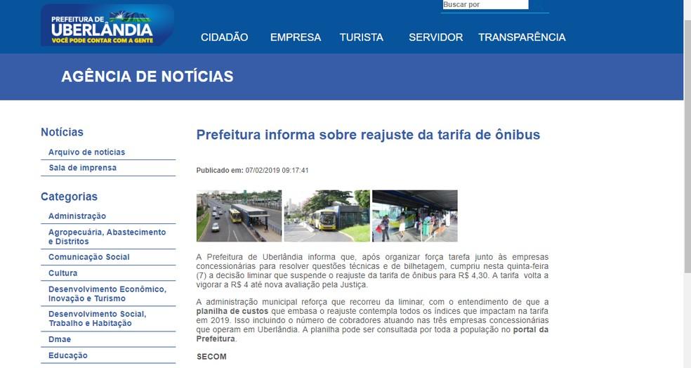 521826b23 ... Reajuste da taxa de ônibus foi anunciado no site da Prefeitura de  Uberlândia — Foto