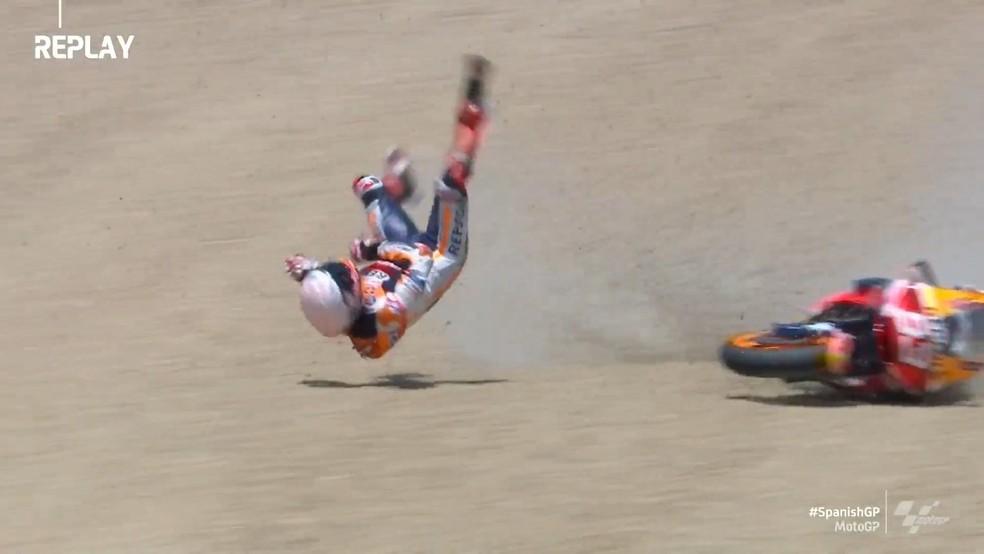 Marc Marquez sofre queda na MotoGP — Foto: Reprodução