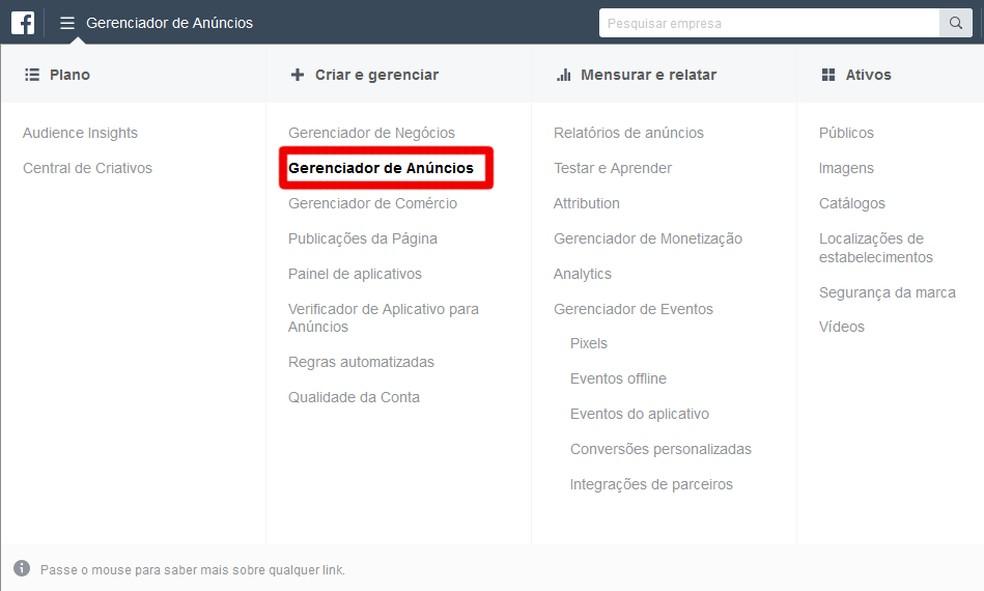 Menu suspenso de opções do Facebook Business — Foto: Reprodução/Thiago Siqueira
