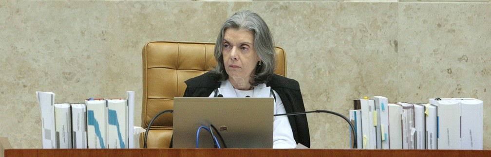 A presidente do Supremo Tribunal Federal (STF), ministra Cármen Lúcia, durante sessão da Corte em abril (Foto: Carlos Moura/STF)