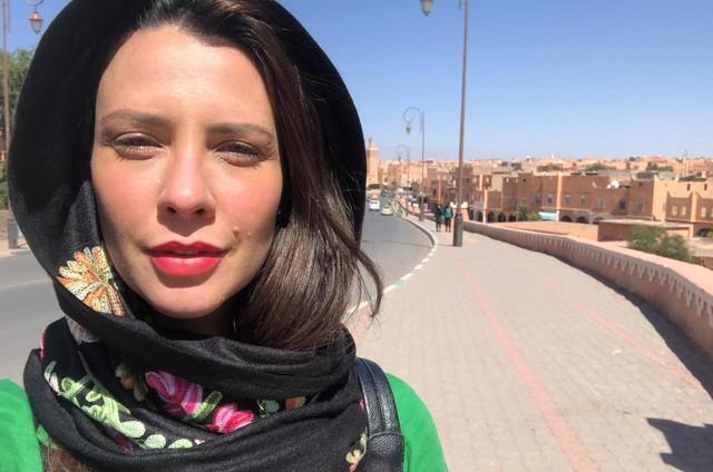 Camila Rodrigues grava 'Gênesis' no Marrocos (Foto: Arquivo pessoal)