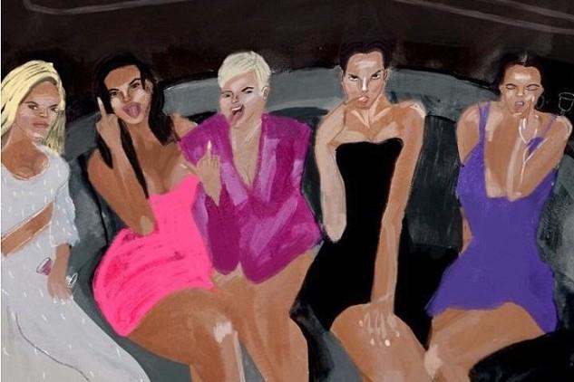 A capa do single de Kanye West com ilustração inspirada em foto das irmãs do clã Kardashian-Jenner (Foto: Twitter)