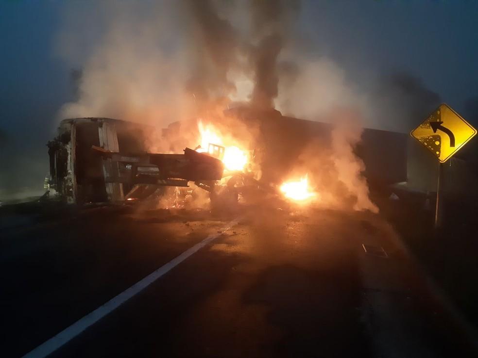 Acidente aconteceu na altura do km 262 — Foto: Divulgação/Polícia Rodoviária Federal