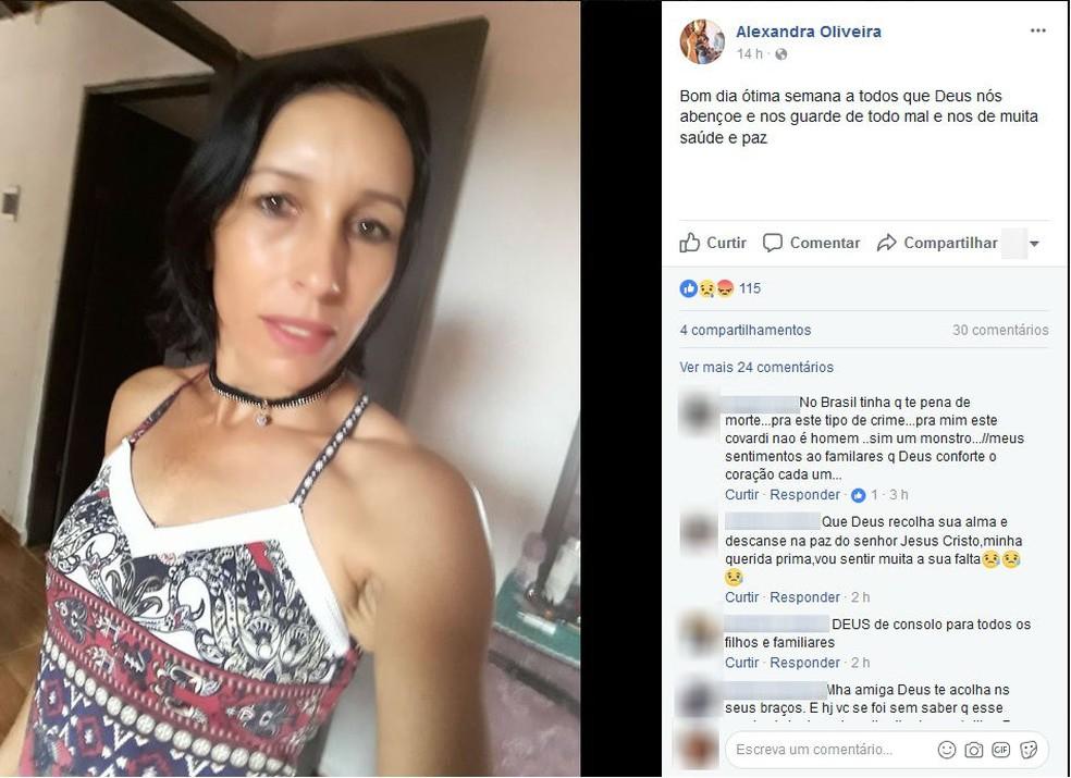 Em sua última postagem na internet, Alexandra pediu proteção de Deus  (Foto: Reprodução/Facebook)
