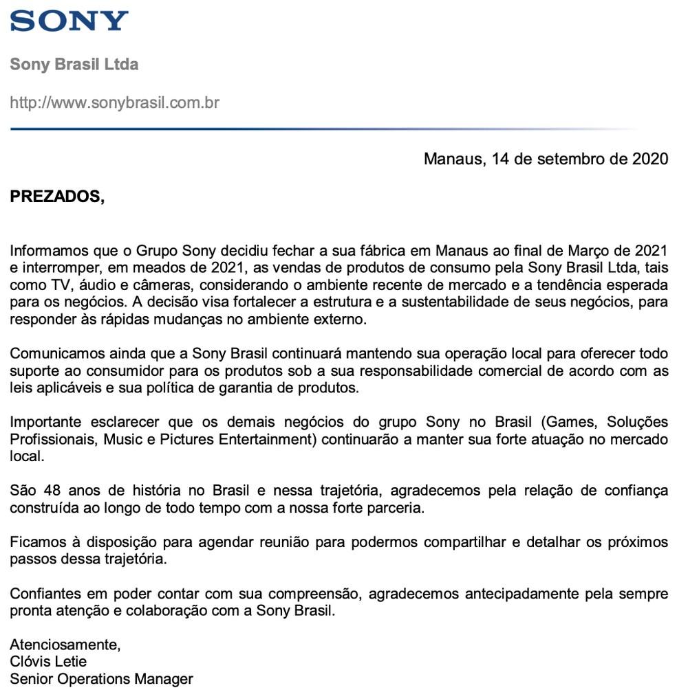 Comunicado enviado pela Sony a varejistas informa sobre encerramento das operações da fábrica no Brasil. — Foto: Reprodução