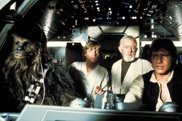 Chewbacca, Luke, Obi Wan e Han Solo em cena de Star Wars (1977) (Foto: Reprodução)