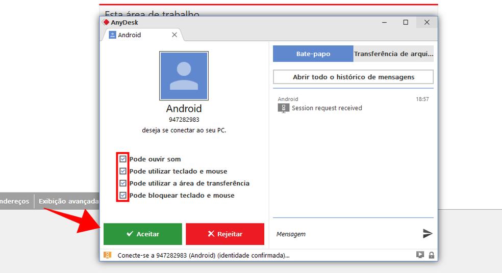 Revise e aprove um acesso remoto ao seu computador pelo AnyDesk — Foto: Reprodução/Paulo Alves