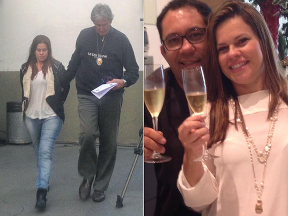 Eliana é levada em delegacia do Brooklin suspeita de participar da morte do marido Luiz Eduardo Barreto (à direita) (Foto: Isabela Leite/G1 e Reprodução/Facebook)