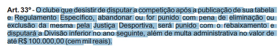 Detalhamento do artigo 33 do regulamento do Campeonato Rondoniense 2021 (Foto: Divulgação)